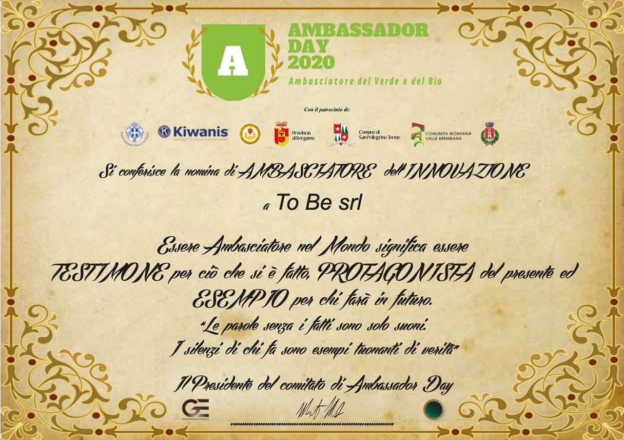 Premio Innovazione Ambasciatori 2020 To Be LiFi